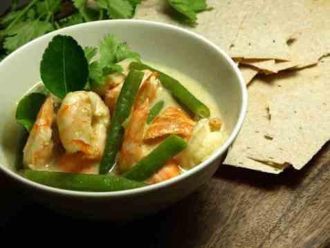 Grønn curry med sjømat oppskrift.