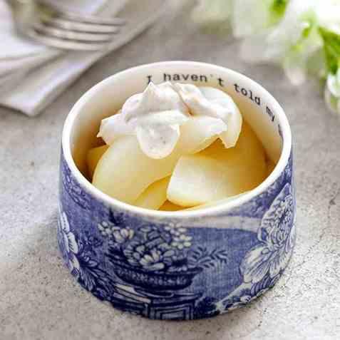 Varme sitronpærer med crème fraîche oppskrift.