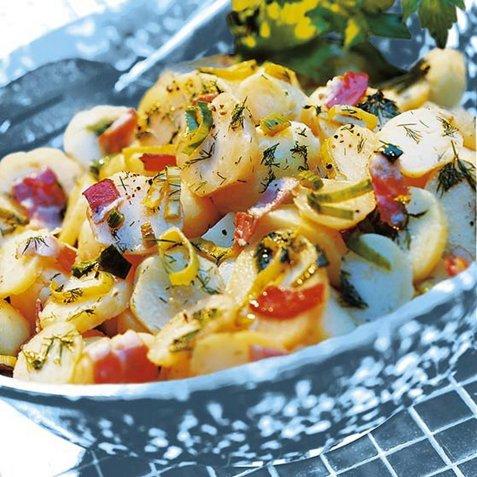 Sprø potetsalat med oljedressing oppskrift.