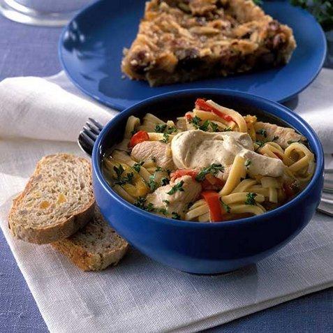 Kylling- og pastasuppe oppskrift.