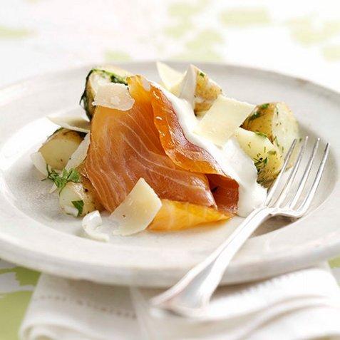 Marinerte poteter med ferskrøkt laks oppskrift.