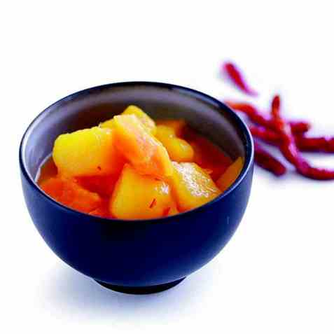 Relish med mango og papaya oppskrift.