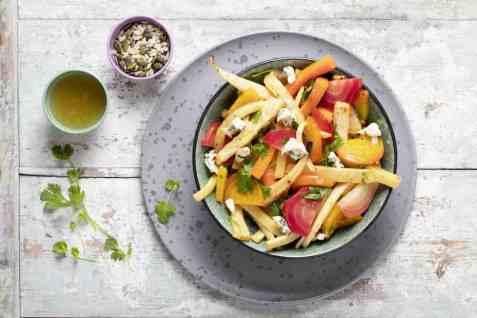Bakte rotgrønnsaker med blåmuggost oppskrift.