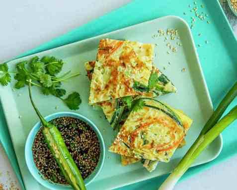 Koreansk pannekake, pajeon oppskrift.