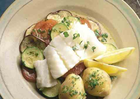 Dagens oppskrift er Torsk på grønnsakseng.