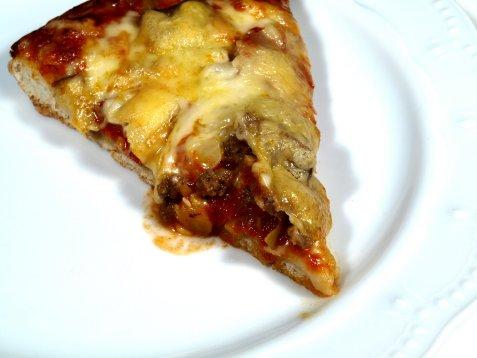 Pizza med sopp og kjøttdeig oppskrift.