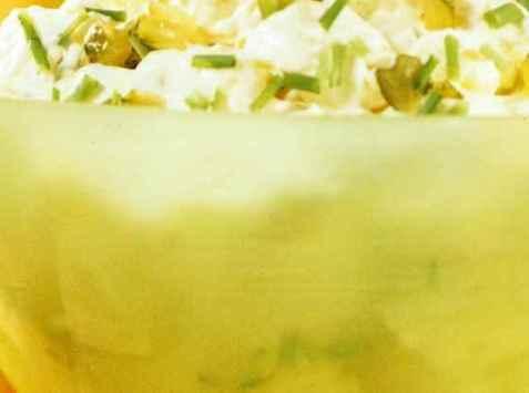 Potetsalat med rømmedressing oppskrift.