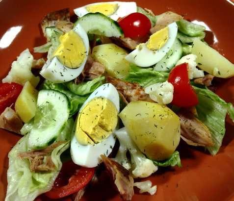 Egg- og kyllingsalat oppskrift.