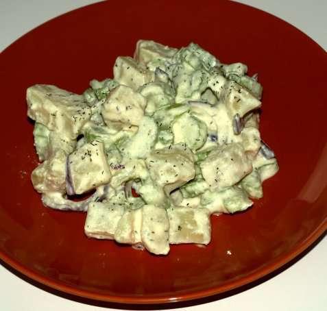 Potetsalat til middag oppskrift.