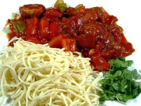 Vegetarpasta med paprika oppskrift.