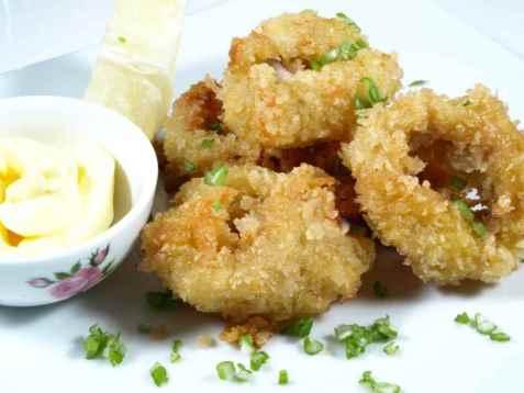 Frityrstekt  blekksprut oppskrift.